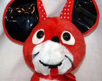 SALE - Vintage Knickerbocker Mouse red white Polkadot Ears Plush Stuffed Animal