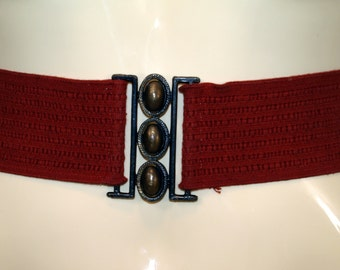 Vintage Rusty Red Stretch Belt with Bronzetone Buckle