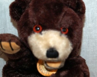 Vintage Toy Puppet - Plush Bear with original label Stanor Japan - glass eyes