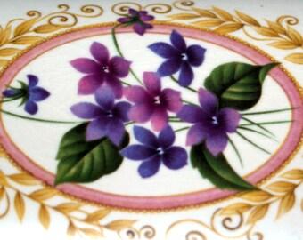 Vintage Lidded Trinket Dish Purbeck Ceramics, Swanage ~Violets