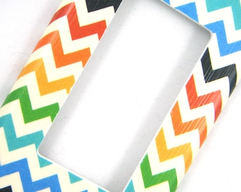 Chevron GFCI Outlet Cover Rocker Light Switch Cover -- Muted Rainbow