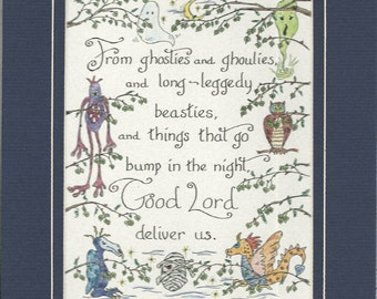 From Ghosties and Ghoulies and Long-Leggedy Beasties Scottish Prayer Matted Original Art Hand Penned Calligraphy