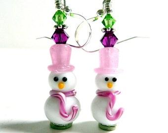 Snowman Earrings, Drop Dangle Earrings, Christmas Earrings, Holiday Earrings, Winter Earrings, Pink White Fun Adorable Snowmen Earrings