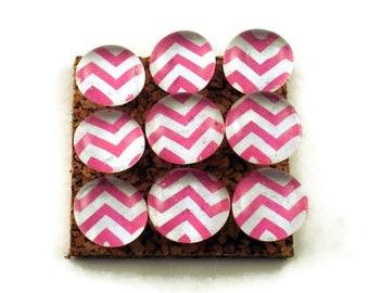 Decorative Funky Push Pins  Thumb Tacks Cork Board Pins  Pink Chevron (P90)
