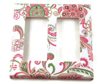 Double Rocker Light Switch Cover  Wall Decor   Light  Switchplate in Delphine   (184DR)
