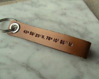 Custom Nautical Latitude / Longitude - 5/8 inch wide leather keychain with personalized text on reverse side