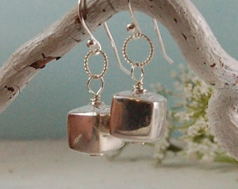 Sterling Silver Earrings Shiny Silver Cube Earrings