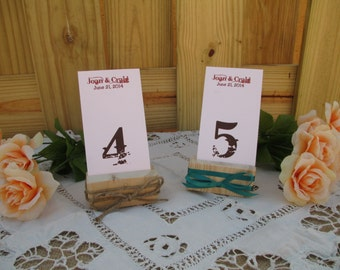 Table Number Holder - Rustic Wood Table Number Holder - Item 1589