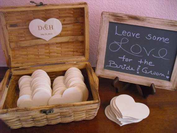GUEST BOOK ALTERNATIVE Engraved Rustic Wedding Set with Chalkboard and Easel - Large Set - Item 1086