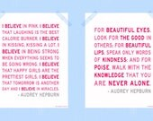 I Believe in Pink You Are Never Alone Audrey Hepburn Quote Print Set Two 11 x 14 Printable Digital Prints Raspberry Pink Daughter Print