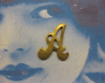 Natural Raw Brass Small  Fancy Script Charms Letter A 257RAW x1