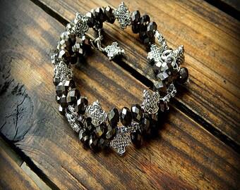 ON SALE- Gunmetal, Western Cowgirl Southwestern Boho Multi Strand Bangle Crystal & Cross Bracelet