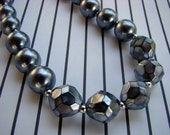 READY TO SHIP - Shiny Silver Sassy Necklace - Gray Grey Charcoal Faceted Round Pearl - Bella Mia Beads