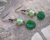 READY TO SHIP - Sale - Antique Gold and Green Leaf Earrings - Bella Mia Beads