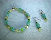 READY TO SHIP - Silver with Yellow and Green Marble Beaded Bracelet and Earrrings Set - Bella Mia Beads