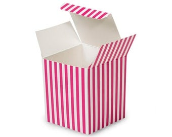 6 Pack Hot Pink and White Stripe Paper Tuck Top Style Packaging Retail Gift Boxes 3.25X3.25X3.25 Inch Size