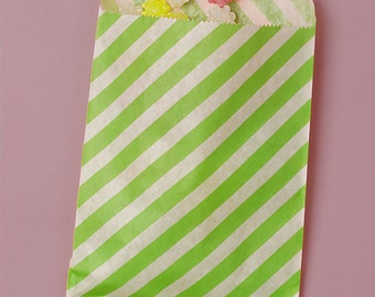 25 Pack 5 X 7 Inch Color and White Striped Flat Paper Food Safe Bags