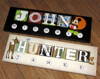 """Match ANY Nursery Decor- BABY NAME with Knobs- custom made to order in AnY theme- middle name on knobs 8"""" x 24"""""""