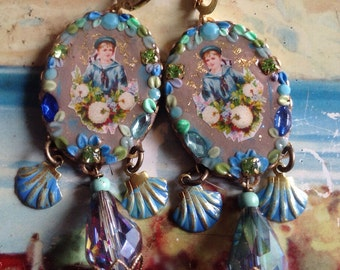 Lilygrace Sailor Boy Cameo Earrings with Vintage Rhinestones and Crystal Beads
