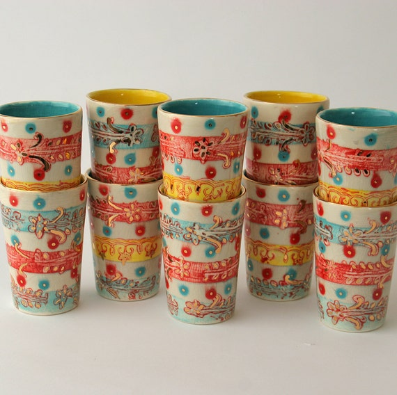 Ceramic tumblers in Gigi the Parisian Gypsy pattern Available in 14 days