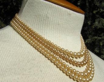 Vintage 30s 40s Necklace 4 Strand Faux Pearl & Art Deco Rhinestone Clasp - Ivory Retro Bridal Magic