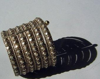 "Vintage Sindhi Cuff Bracelet Large Silver Wide & Bold with Texture 8"" - Heavy Statement Piece"