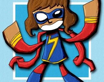Ms Marvel Illustration Superhero Art Print Avengers