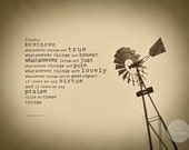 Scripture Art Print, True and Lovely, Vintage Windmill Photo, Philippians 4, KJV or NIV (8x10)