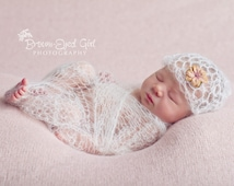 Mohair Lacy Baby Wrap and Hat Crochet Pattern PDF 204 -- INSTANT DOWNLOAD