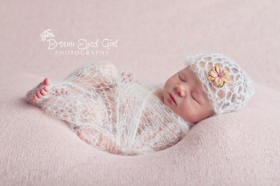 Crochet Baby Wrap Pattern : Items similar to Mohair Lacy Baby Wrap and Hat Crochet ...