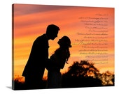Personalized Your Wedding Pictures to Canvas Art Personalized with Your Words Vows lyrics 18x24  inches