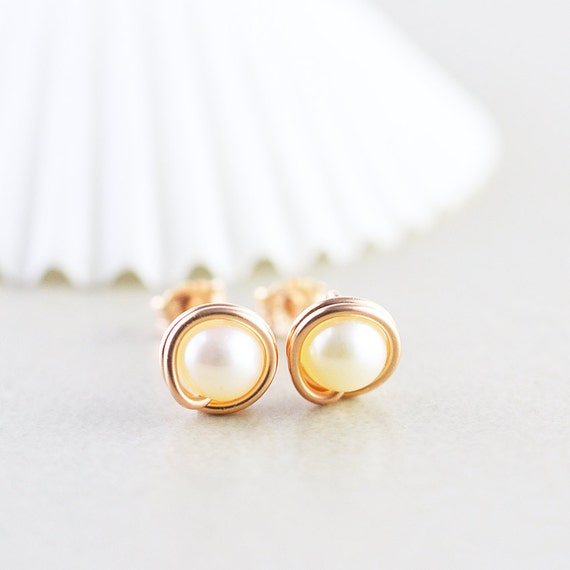 Pearl Studs, Rose Gold Earrings, Pearl Posts, June Birthstone, Bridesmaid Gift