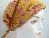 Plum Floral Hand Dyed Batik 100% Cotton Cancer Chemo Cotton Hat Scarf Cap Head Wrap Turban