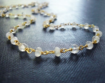 Moonstone Necklace - Linked Wrapped Moonstone Gemstone Necklace in Gold Vermeil - Dainty Moonstone Necklace