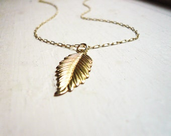 Gold Leaf Necklace in Gold Filled - 14K Gold Filled Leaf or Feather Necklace, Simple Gold Necklace