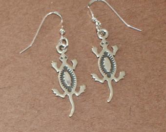 Earrings - Sterling Silver LIZARD, GECKO - Reptile, Southwest