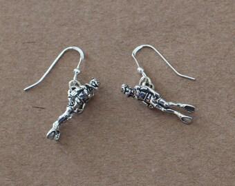 Earrings - Sterling Silver 3D SCUBA DIVER  - Water Sports