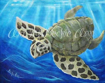 Sea Turtle Ocean Life Sea Life Sea Animals Kids Nursery Stretched Canvas Art