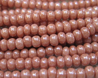 6/0 Pink Opaque Luster Czech Glass Seed Beads 11 grams