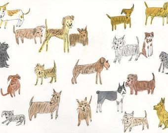 Twenty Terrific Terriers.   Limited edition print by Vivienne Strauss.