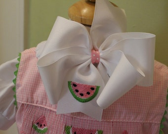 Embroidered Watermelon Hair Bow Picnic Summer Accessory CUTE