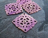 Purple Washed Patina Shabby Chic Gold Metal Filigree Square Link Stamping-4