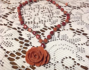 Rose Necklace Sculpted Dusty Rose Vintage Avon