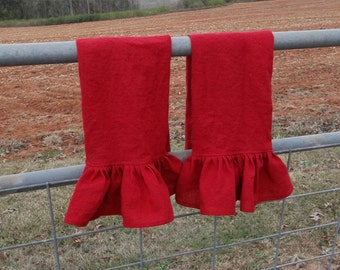 2 Ruffled Linen Towels in Red Green Neutrals Linen Kitchen Towels Ruffled Towels French Country Handmade Bath Décor