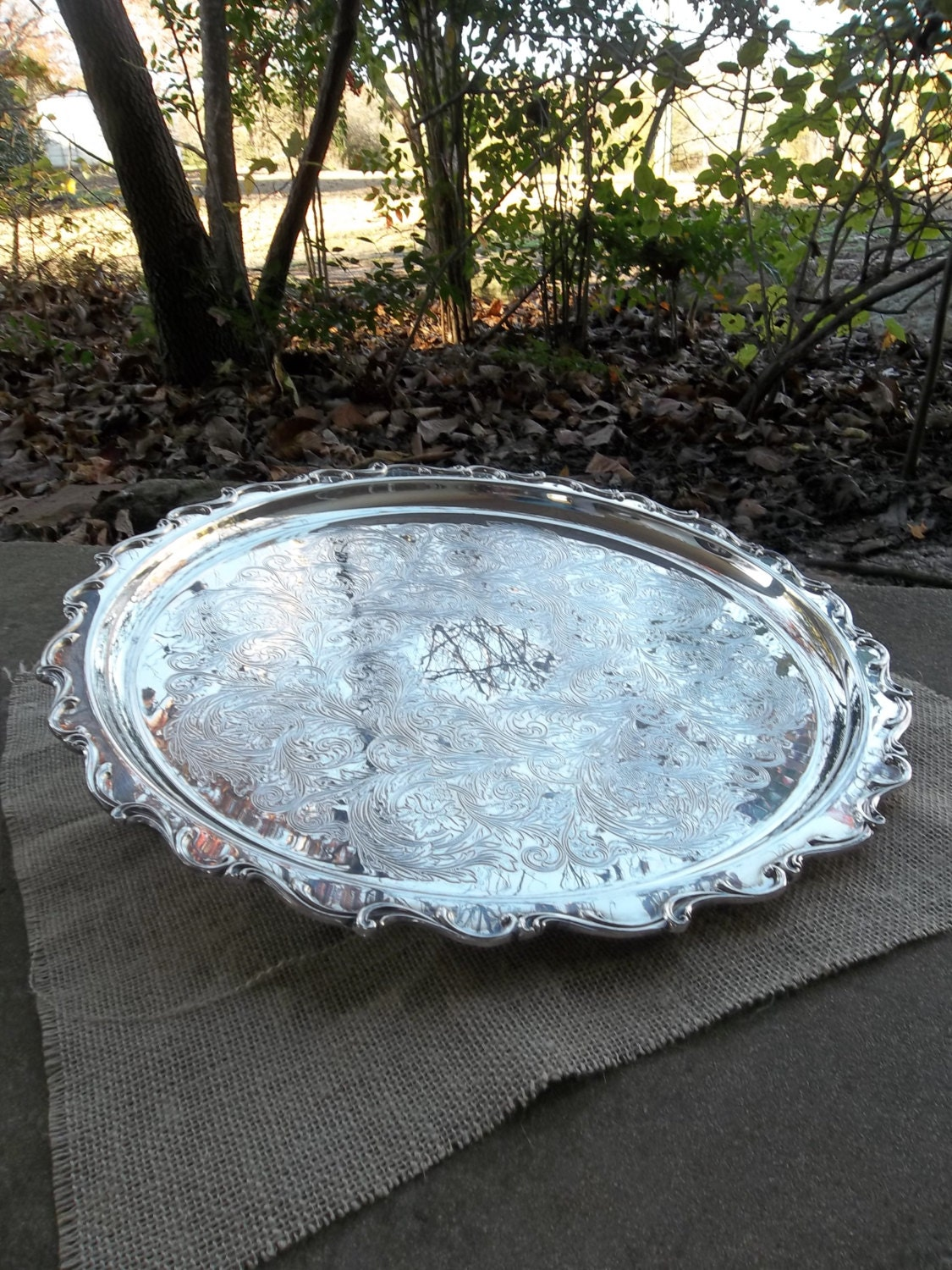 Large Vintage Silver Tray Antique JOANN Silver Plate Serving