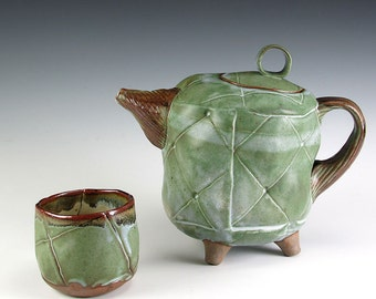 Stoneware Tea Pot And Cup