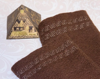 wrist warmers, fleece brown, meander, brown cuffs, arm warmers, handmade, embroidered, fingerless gloves, fleece cuffs