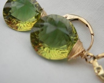 Stellar Concave Green Yellow Quartz Gold Fill Wire Wrapped Earrings