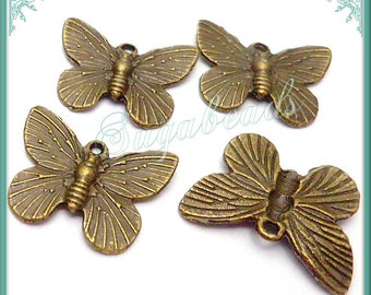 10 Antiqued Brass Butterfly Charms 18mm PB76