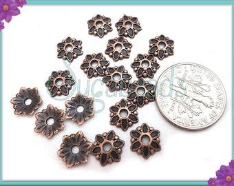 50 Antiqued Copper Flower Bead Caps 7mm